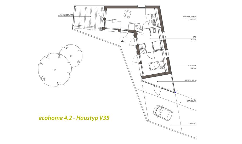 singlehaus typ v35 50. Black Bedroom Furniture Sets. Home Design Ideas